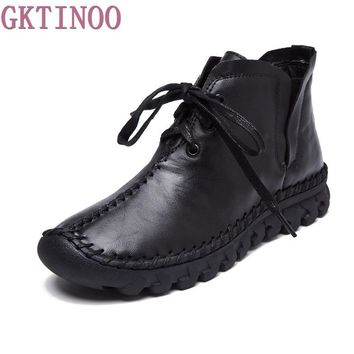 women boots 2017 New Leather Winter Boots Handmade lace-up Woman Shoes Casual Full Gra