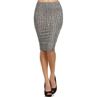 Sexy Peppered Ribbed Knit High Waist Stretchy Knee Length Career Bodycon Midi Skirt