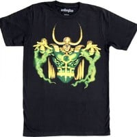 Marvel Comics Loki God of Mischief Hands Up Adult Black T-Shirt
