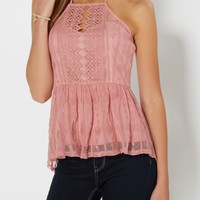 Rose High Neck Crochet Peplum Tank | Casual Tank Tops | rue21