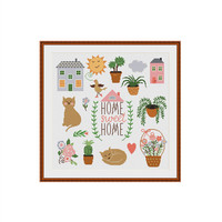 Home sweet home cross stitch pattern, Instant Download, Printable Pattern, Counted Cross Stitch, DIY Cross Stitch, Cross stitch designs, PDF