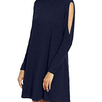 Sherosa Womens Cold Shoulder Long Sleeve TShirt Dress Basic Shift Dress