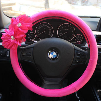Ladycrystal Car Steering Wheel Cover Red Purple Rose Flowers Auto Car Styling Interior Decoration Accessories