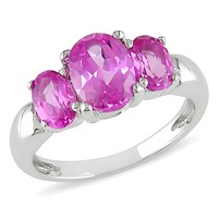 3 1/2 Carat Pink Sapphire 3 Stone Ring in Silver