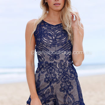 Love At First Sight Playsuit (Navy)