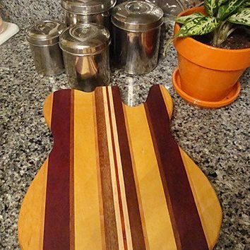 Handmade Wood Rockin Guitar Cutting Board - T Style - Yellowheart & Padauk