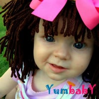 Baby Hat- Brown Wig Hat- Ready to Ship- Girl Wig- Halloween Costume Girls- Princess Costume- Brown Hair Wig- Baby Costume-  Girl Photo Prop