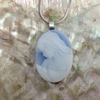Mother and Child Blue Real Cameo Necklace Jewelry Gemstone Pendant Necklace