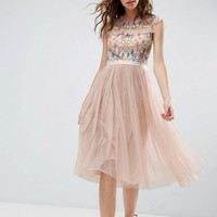 Needle and Thread Floral Embroidery Midi Skater Dress at asos.com
