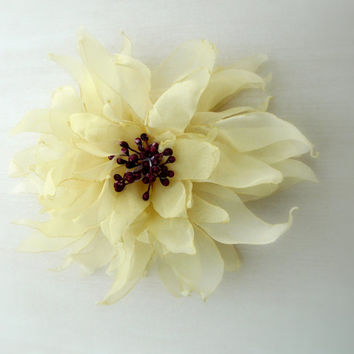 Yellow Wedding Flower, Yellow Hair Piece, Yellow Wedding Fascinator, Yellow Fabric Flower, Lemon Flower