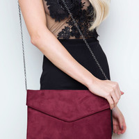 Shirelle Envelope Clutch - Burgundy