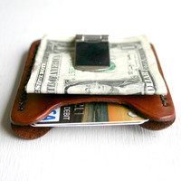 Flip Clip. Men's leather wallet credit card holder with money clip