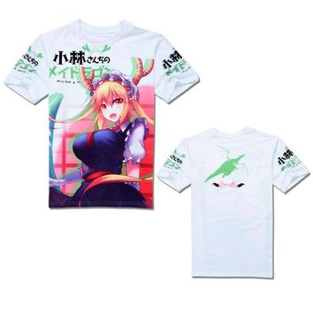 LMFON Kobayashi san Chi no Maid Dragon Short Sleeve T-shirt Cosplay Costumes Miss Kobayashi's Dragon Maid Kanna Kamui Tooru Tees