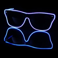EL Wire Light Up Black and Blue Sunglasses : LED Wire Glasses from RaveReady