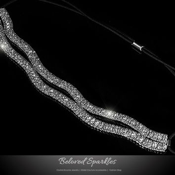 Conesa Crystal Two Rows Stretchable Headband | Rhinestone
