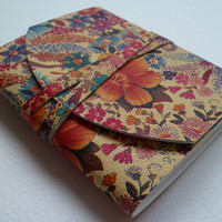 SMALL Stylish Leather Bound Notebook/Journal Unusual Antique Floral Print.