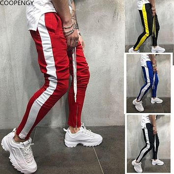 2018 Autumn New Men's Hip Hop Sweatpants Fitness Joggers Male Side Stripe High Street Hip Long Trousers Harem Pants Sweatpant