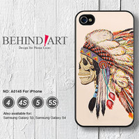 Phone Cases iPhone 5 case iPhone 5C Case iPhone 5S case iPhone 4 Case iPhone 4S Case Phone Covers iPhone Case Skull Indian Chief-A0145