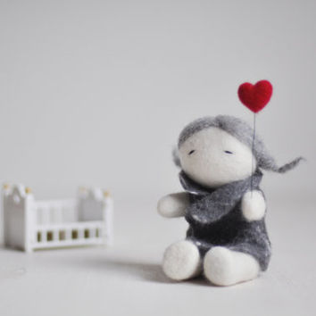 READY TO SHIP - Needle felted home decoration/ Lovely girl with red heart / Felted doll / Wool sculpture / Grey Red / Valentine's day gift