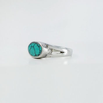Chunky Silver Ring - Turquoise Sterling Ring - Oval Turquoise Ring - Mexican Silver Ring Size 6.75 - Vintage Turquoise Ring