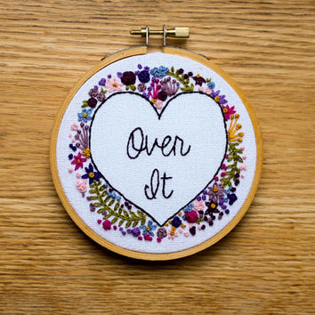 "Over It Hearts and Flowers Embroidery in 4"" Wooden Hoop"