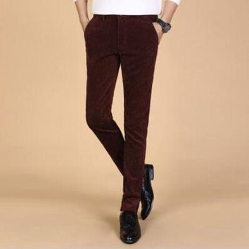 ICIKON3 Mens corduroy trousersMens business strip trousers casual pants slim straight trousers