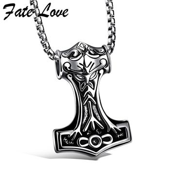 Collier Men Necklaces Thor Hammer Stainless Steel Vintage Jewelry Accessories Cool Gift Gothic Jewellery Mens Pendant Necklaces
