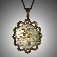 Vintage Pocket Watch Movement Pendant Necklace, Mechanical Gears, Victorian Steampunk, Clockwork
