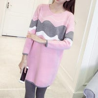 Casual Multicolor Scoop Neck Top Sweater Pullover