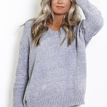 The Routine Silver V-Neck Sweater