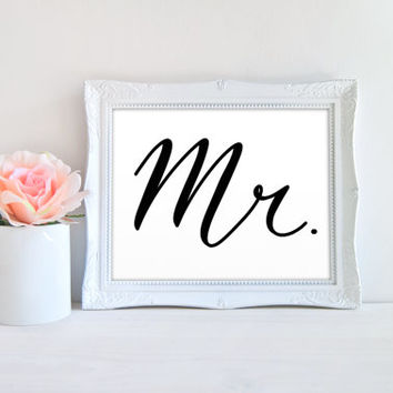 Mr Wedding Chair or Table Printable Sign, Printable Digital Wall Art Template, Instant Download, 8x10