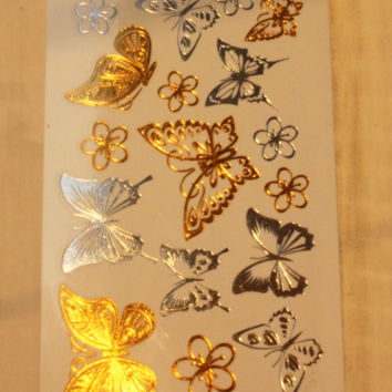 Butterfly Small Flower Gold Tattoo Women Makeup Golden Sexy Temporary Tattoo Stickers