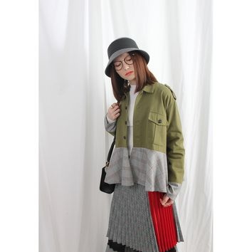 (Korean) Military Style Canvas Jacket With Houndstooth Tartan Frill Hem