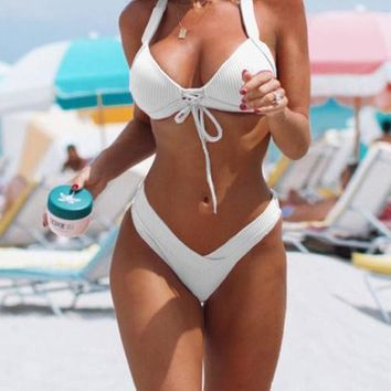 Puka White Lace Up and Halter Neck Bikini Set