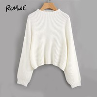 ROMWE White Drop Shoulder Sweater Pullovers Women Lantern Long Sleeve Brief Sweaters Fall 2017 Fashion Loose Casual Work Sweater