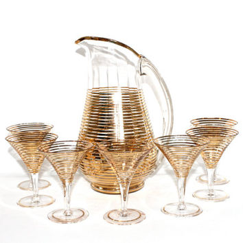 Vintage Gold Striped Glass Pitcher and 7 Matching Cocktail Glasses