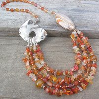 Carnelian Agate Multilayered Handmade Gemstone Necklace 22'', Natural Stone Jewelry Inspired By Nature, Handmade Rhodium Plated Clasp