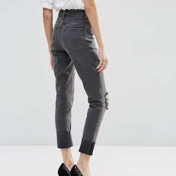ASOS FARLEIGH High Waist Slim Mom Jeans In Gray With Deep Turn Up & Rips