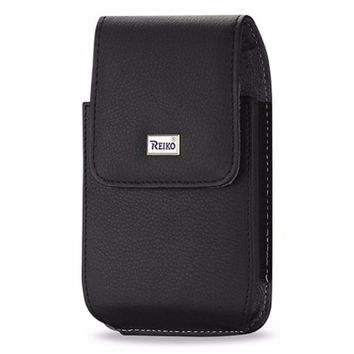 Reiko Vertical Leather Pouch Iphone5 Plus-Black With Megnetic And Metal Belt Clip Inner Size-5.27X2.71X0.7Inch