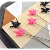Pink and Black Decorative Pin Toppers for by PinkDragonflyCrafts