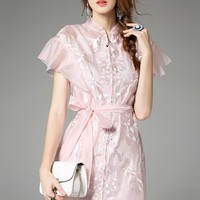 Women dresses pink white organza gauze dress flower embroidery ruffle sleeve vintage dress