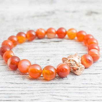 Orange agate beaded rose gold Leopard head stretchy bracelet, made to order yoga bracelet, mens bracelet, womens bracelet