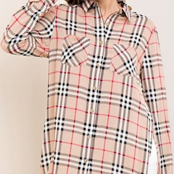 Grunge Goddess Plaid Long Sleeve Button Front Two Pocket Tunic Shirt - 3 Colors Available (Pre-Order)