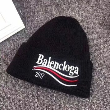 balenciaga autumn winter fashion wave stripe letter embroidery knit hat women warm hat