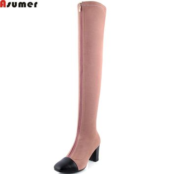 Asumer black fashion women boots square toe zipper genuine leather+cow suede ladies boots square heel sexy over the knee boots