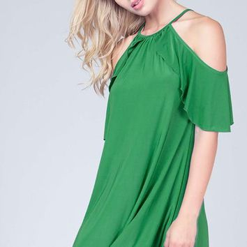 Ruffle Cold Shoulder Dress - Kelly Green