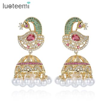 LUOTEEMI Ethnic Bridal Jewelry Antique Gold Color Bird With Created Pearl Umbrella Drop Indian Jhumka Jhumki Stud Earrings