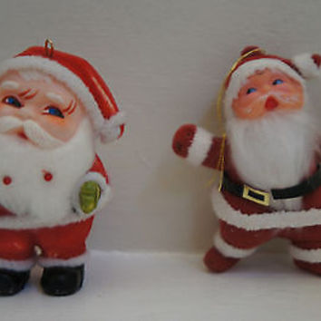 Vintage Retro Christmas Ornaments  Flocked Santa Claus Figurines