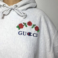 GUCCI Fashion Flower Rose Print Top Sweater Hoodie Pullover