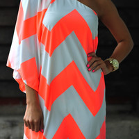 Wild Wide One Shoulder Chevron Dress: Neon Orange | Hope's